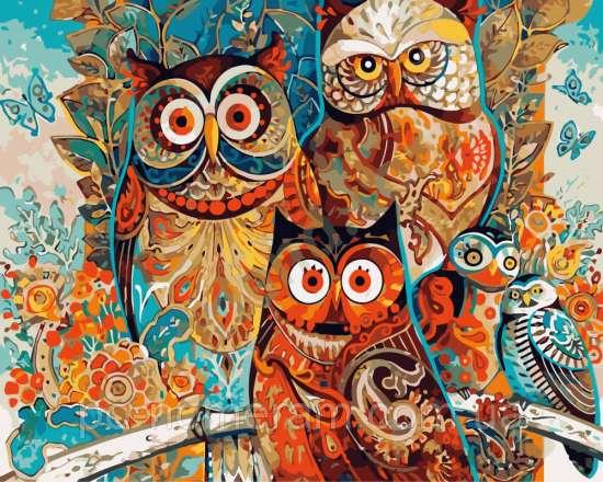Картина по номерам 40x50 Три совы
